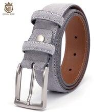 Boden Geist Luxus Echtem Wildleder Leder Gürtel für Männer Männlich mit Vintage Gebürstet Nickel Pin Schnalle 90 130CM