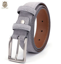 Ground Mind Luxury Genuine Suede Leather Belts for Men Male with Vintage Brushed Nickel Pin Buckle 90 130CM