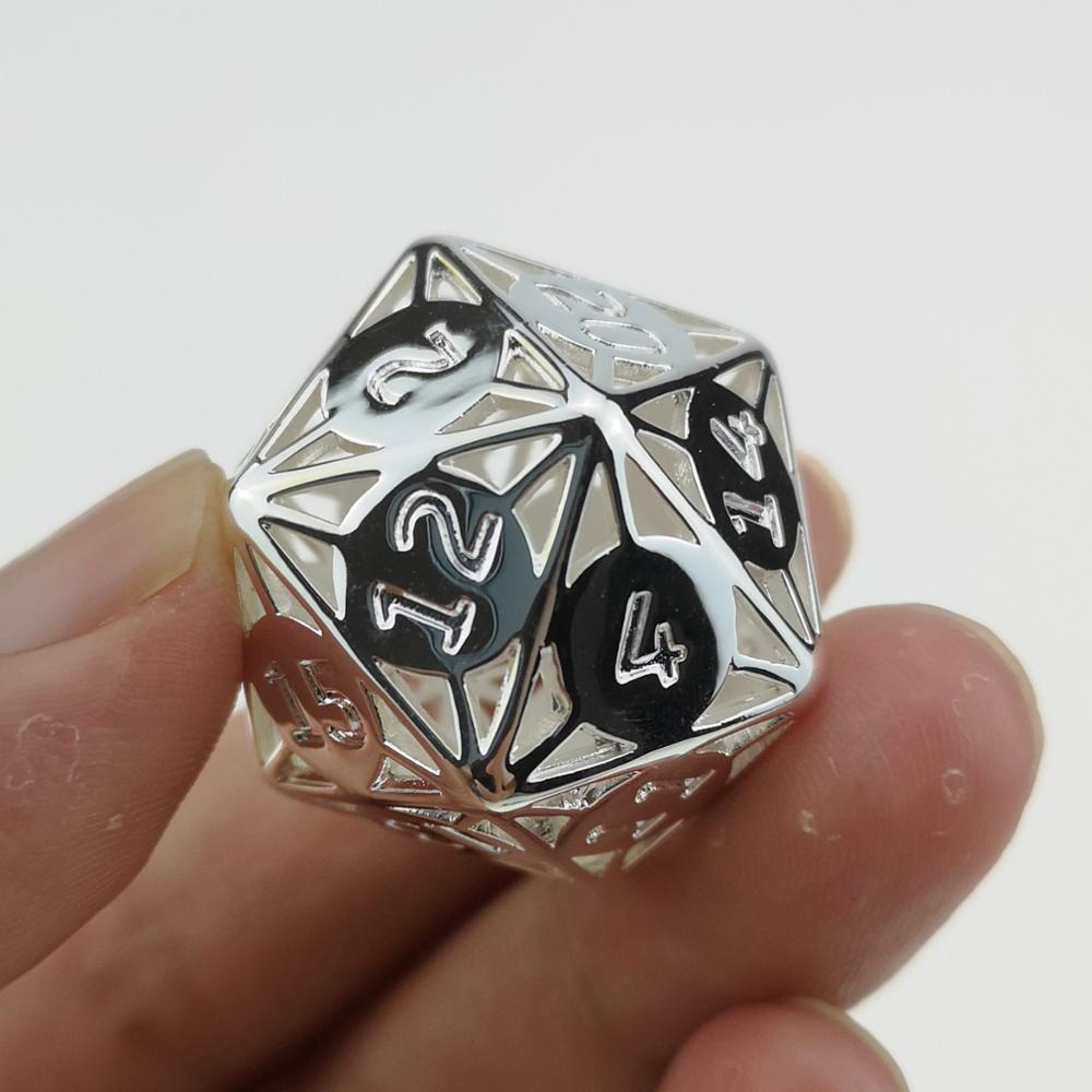 Rollooo Hollow Metal Dice D20 Silver Finishing for Roleplaying Games Collection or Gift