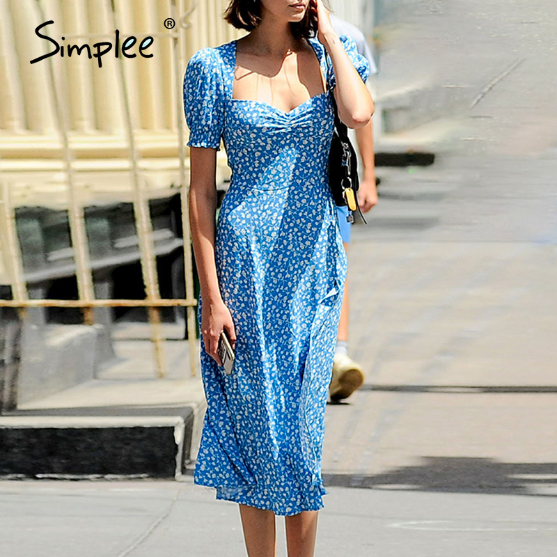 Simplee Elegant Blue Women Dress Floral Print Puff Sleeve V Neck Ruched Summer Dress Casual Holiday Beach Party Bodycon Dress