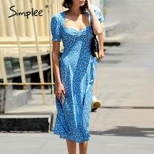 Simplee élégant bleu femmes robe imprimé fleuri manches bouffantes col en v ruché robe dété décontracté vacances plage fête robe moulante