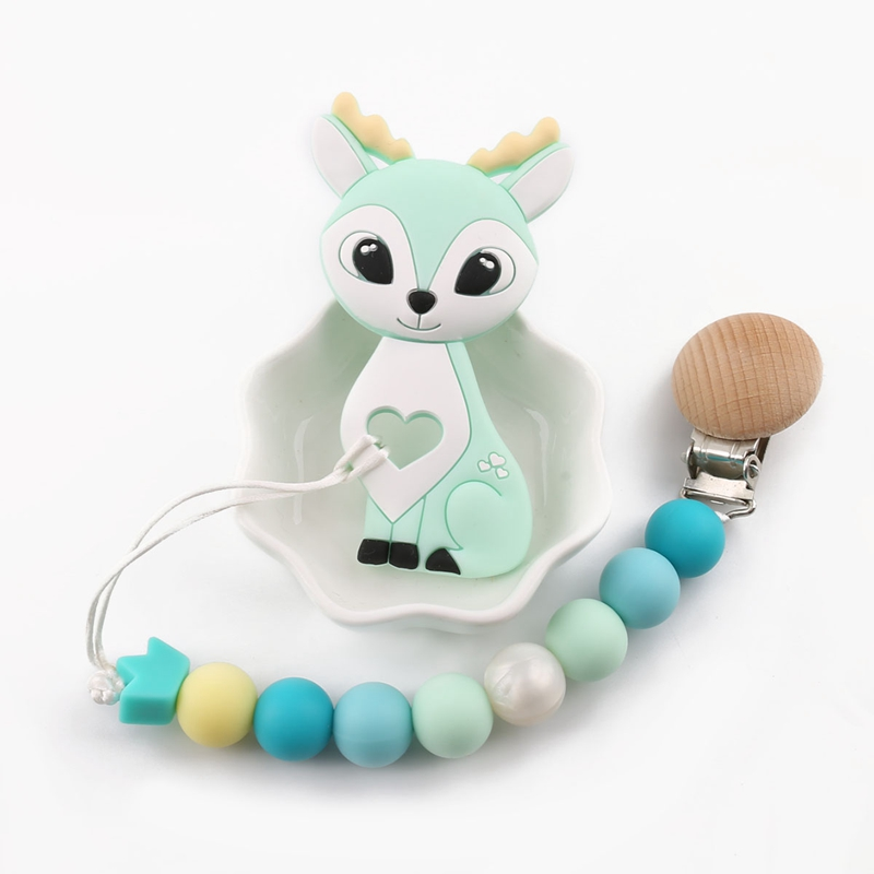 1pc Silicone Sika Deer Teether Beads Silicone Teething Pendant Silicone Christmas Nursing Gifts Silicone Rodents Baby Teether