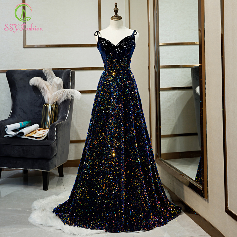 SSYFashion New Luxury Evening Dress Banquet Gorgeous Navy Blue Slim V-neck Sequins Sweep Trian Long Prom Gowns Vestido De Noche
