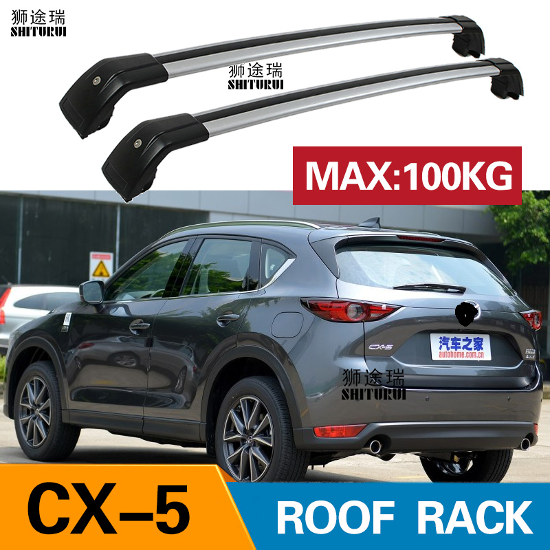 shiturui 2pcs roof bars for mazda cx 5 cx5 suv 2017 2019 ke gh aluminum alloy side bars cross rails roof rack luggage carrier