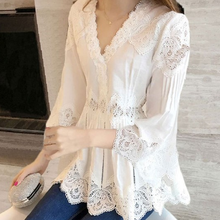 2020 Autumn New Arrival Women Sweet Ruffles V-Neck Fashion Lace Shirt Patchwork Hollow Out Women Blouses Tops DA218(China)