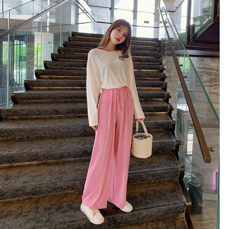 WOMEN'S Suit 2019 Autumn New Style Thin Blouse Tops Women's + Casual Loose Pants Gentle Two-Piece Women's F7493