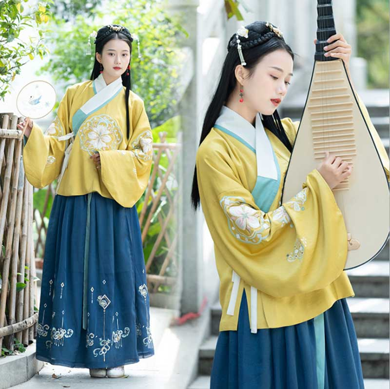 Women Hanfu Ancient Chinese Vintage Yellow Blue Dress Fantasia Female Carnival Princess Costume Outfit For Lady Plus Size L
