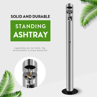 Outdoor Stainless Steel Standing Ashtray Cigarette Ash Bin Thicken Stand up Windproof Ashtray Creative smokeless metal ashtrays