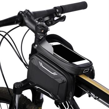 Bicycle Bags Front Frame MTB Bike Bag Cycling Accessories Waterproof Screen Touch Top Tube Phone Bag trinx bicycle bag rainproof bike headtube bag cycling top tube bag mtb city bike frame front head cell phone touch screen bag