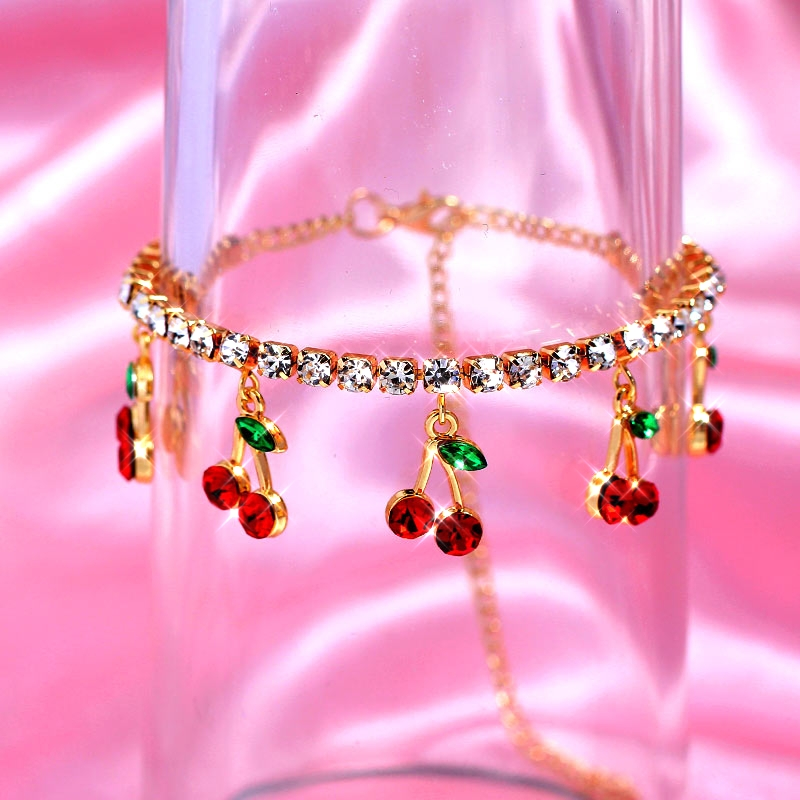 Sweet Cute Gold Silver Color Crystal Tennis Anklet Jewelry for Women Red Rhinestone Cherry Anklet Beach Foot Chain Jewelry Gift