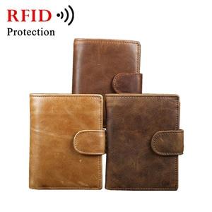 Image 5 - עור אמיתי RFID כיס ארנק גברים של וו כרטיס האשראי מזהה Cardcase ארנקים זכר מטבע תיק מזומנים ארנק