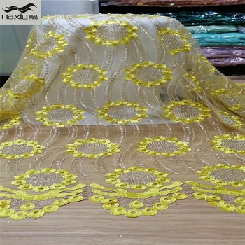 Madison Latest Royal Blue Tulle Lace Fabric High Quality Europe And American Fashion Fabric With Beads Stone French lace Fabrics