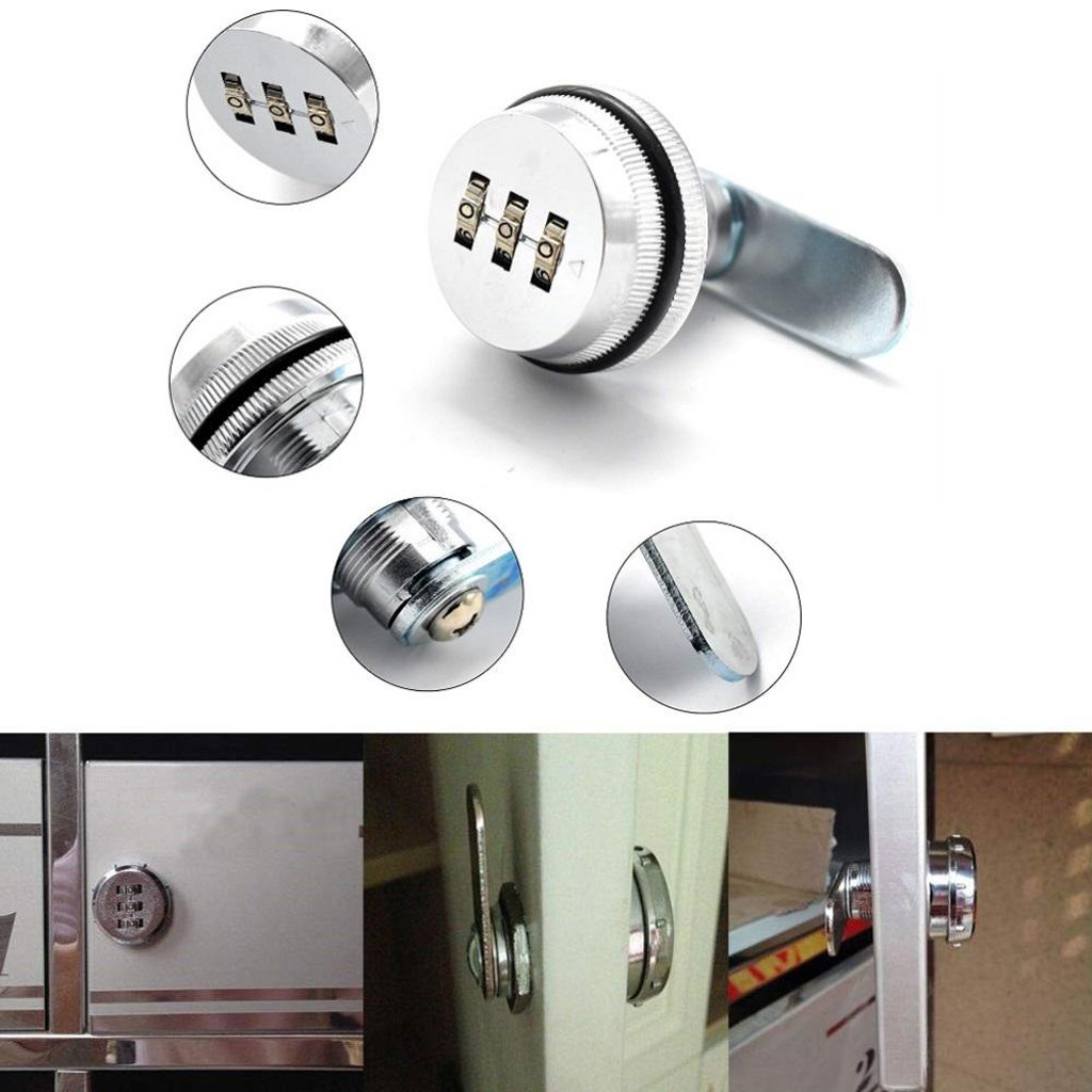 3 Dial 3-Digit Cabinet Lock Zinc Alloy Code Combination Cam Lock Keyless Post <font><b>Mail</b></font> <font><b>Box</b></font> Cabinet RV 3 Dial <font><b>black</b></font>^15 image