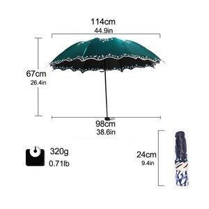Image 2 - Quality Sun Umbrella Rain Women Fashion Princess Leaves Double Umbrellas Female Parasol Portable Creative Female Gift