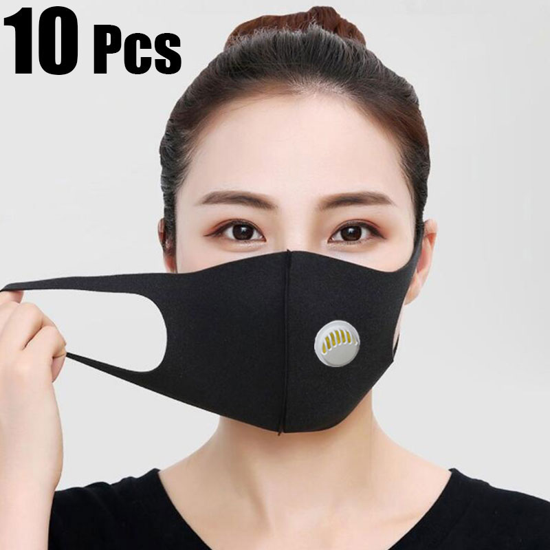 10Pcs Face Mouth Mask Anti-Infection Virus Black Activated Carbon Filter Mouthmask For Unisex Anti-dust Mouth Facemask Washable
