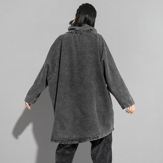 [EAM] Loose Fit Black Denim Oversized Sweatshirt New High Collar Long Sleeve Women Big Size Fashion Spring Autumn 2021 1K166 4