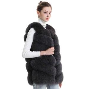 Image 2 - Autumn Winter Women Real Fox Fur Vest Female Genuine Fox Fur Coat Leather Jacket Warm Lady Gilet Natural Fox Fur Waistcoat