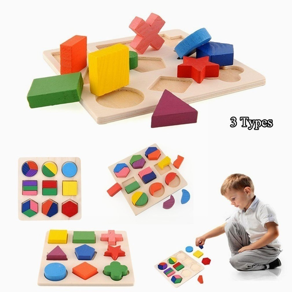 Hot Children Baby Wooden Intelligence Geometry Block Puzzles Kids Cognitive Toy Early Learning Educational Toy Children Gift