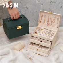 XINSOM Jewelry Organizer High Capacity Jewelry Box Necklace Earrings Rings Jewelry Packaging Display Box Travel Casket Case New