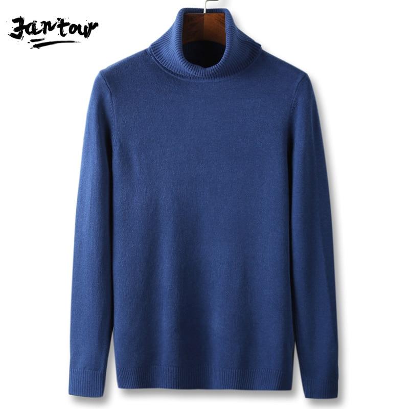Winter High Neck Warm Sweater Men Turtleneck Brand Mens Sweaters Black Blue Khaki Slim Fit Pullover Men Knitwear Male