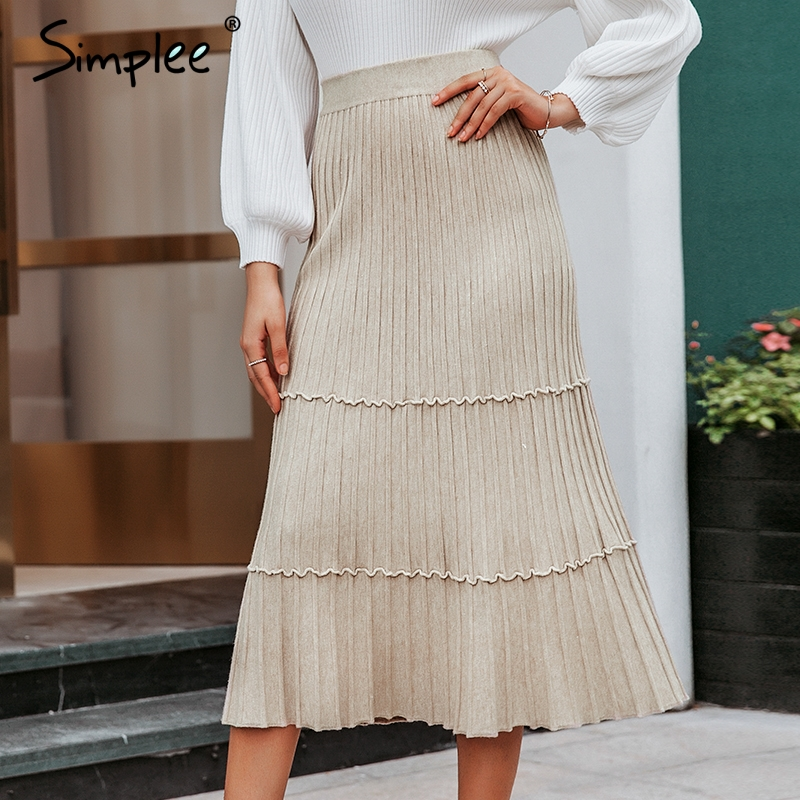 Simplee Elegant Solid A-line Knitted Long Skirts Women 2019 Autumn Winter Pleated Casual Skirts Female Office Style Long Skirt