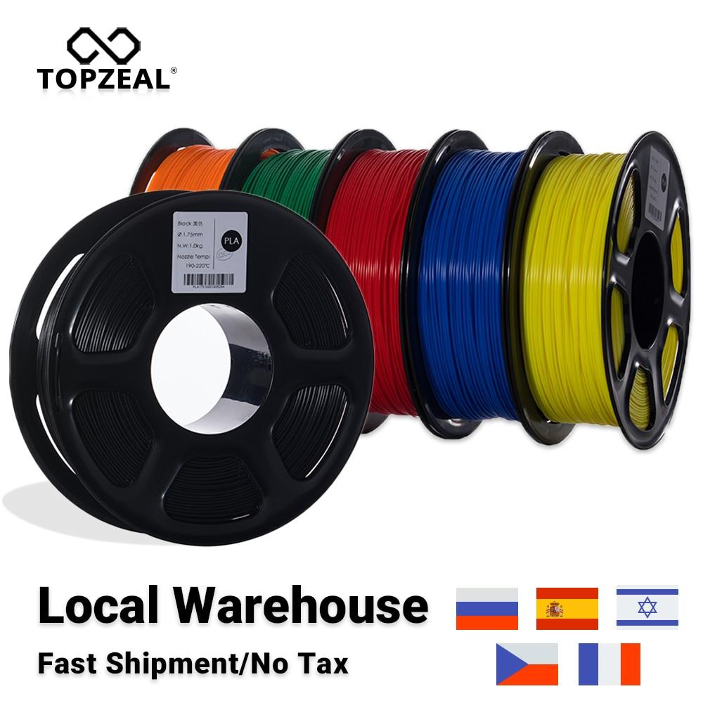 Topzeal alta qualidade pla/abs/petg/tpu/filamento da impressora 3d 1.75mm carretel e 10m * 10 cores amostra para materiais de impressão 3d