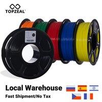 Bobina del filamento della stampante 3D di alta qualità PLA/ABS/PETG/TPU/Nylon TOPZEAL bobina da 1.75mm e campione di 10M * 10 colori per materiali di stampa 3D