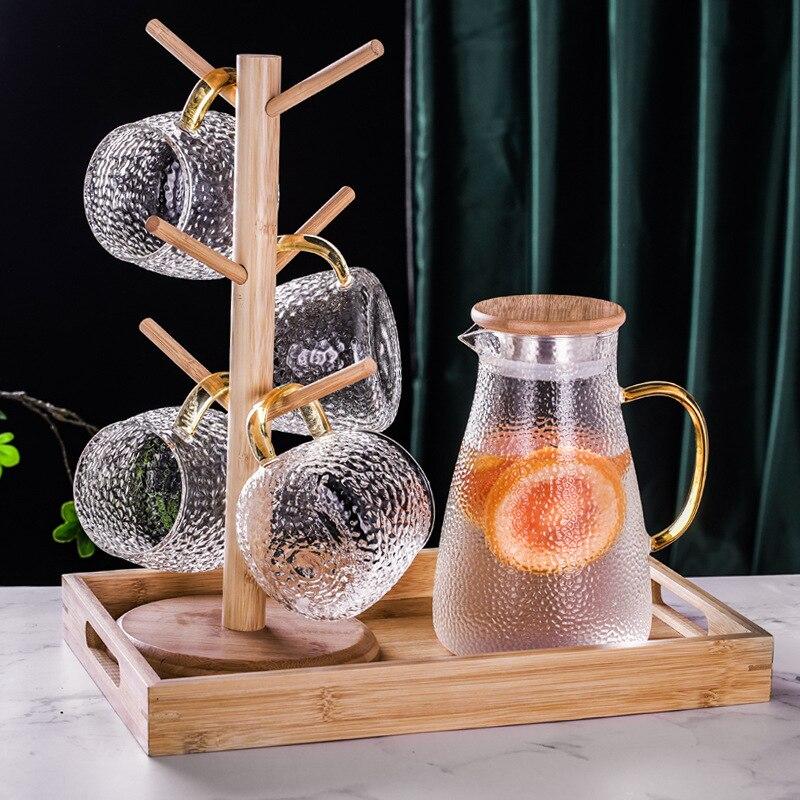 1L/1.5L/1.8L прозрачный Стекло чайный набор для холодной и горячей воды из твердого английского фарфора прозрачный Кофе горшок домашний водяной ...