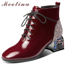 Купить с кэшбэком Meotina Winter Ankle Boots Women Natural Genuine Leather Bling Thick Heel Short Boots Crystal Zip Square Toe Shoes Lady Fall 42