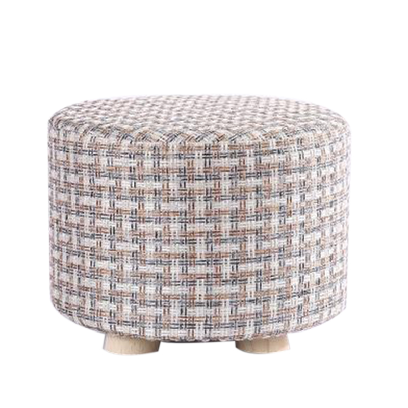 Promotion--Small Stool Wooden Ottomans With Linen Cotton Cover Dining Benches Home Work Furniture Sofa Animal Round Armchair