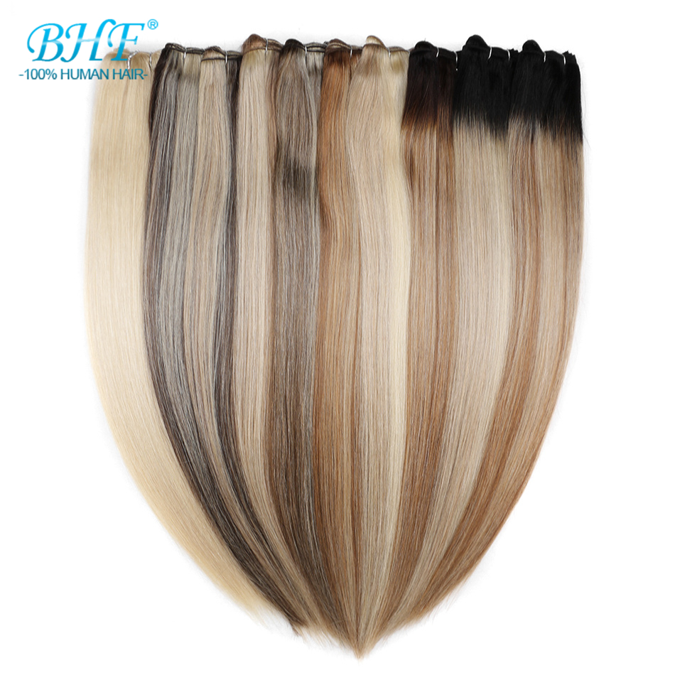 BHF Straight 100% Human Hair Weaving Machine Made Remy Natural Human Hair Weft 18inch To 26inch Long