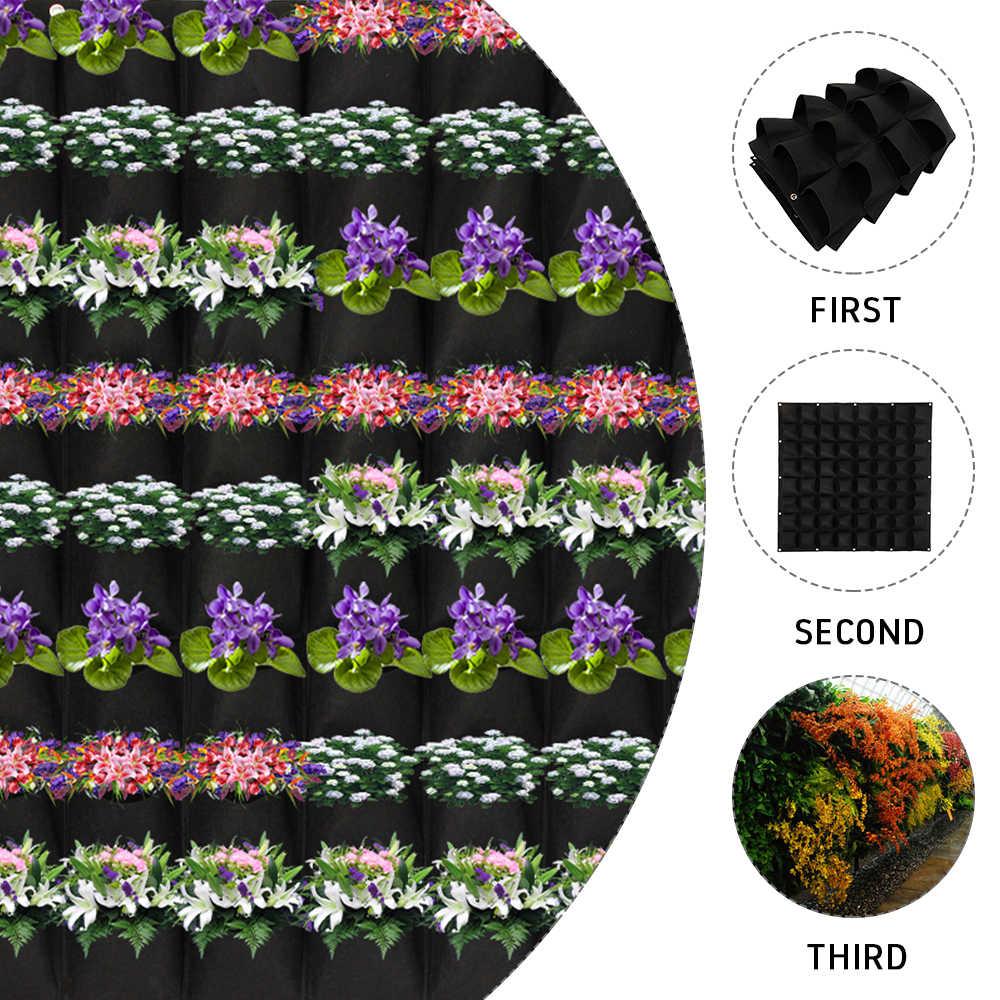 أسود اللون الجدار الشنق أكياس زراعة 64 جيوب تنمو حقيبة زارع عمودي حديقة الخضار المعيشة حقيبة حديقة لوازم المنزل