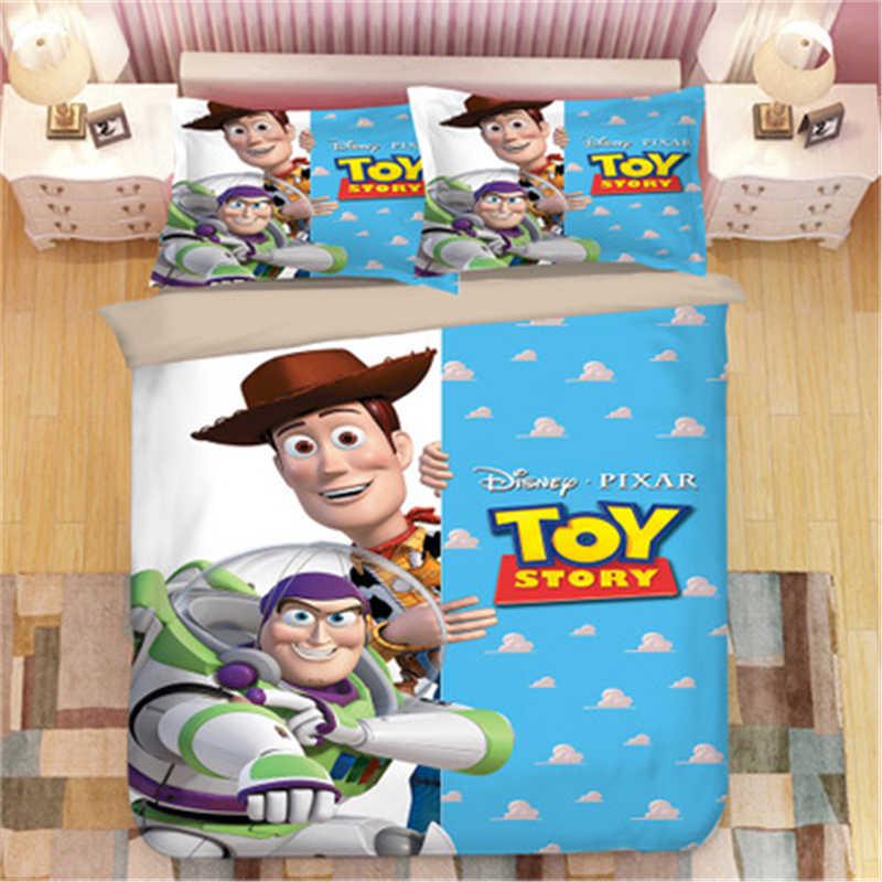 Parure de lit Disney Toy Story Sherif Woody Buzz Lightyear, housse de couette et taies d'oreiller, pour chambre d'enfant, lit queen simple