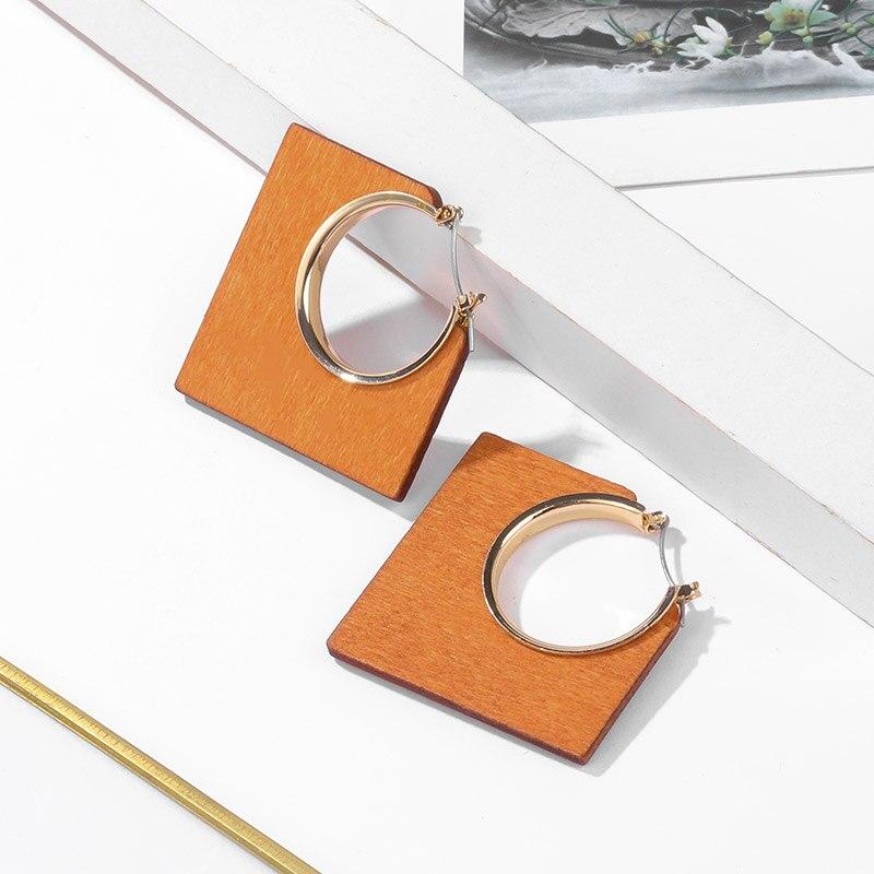 BICUX New Boho Wooden Statement Drop Earrings Geometric Earrings For Women Vintage Earrings 2020 Female Fashion Wedding Jewelry