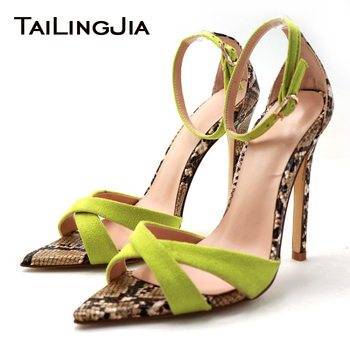 High Heel Sandals Women Pointed toe Ankle Strap Party Dress Green Suede Mix Snake Print Stiletto Heel Fashion Large Size 2019