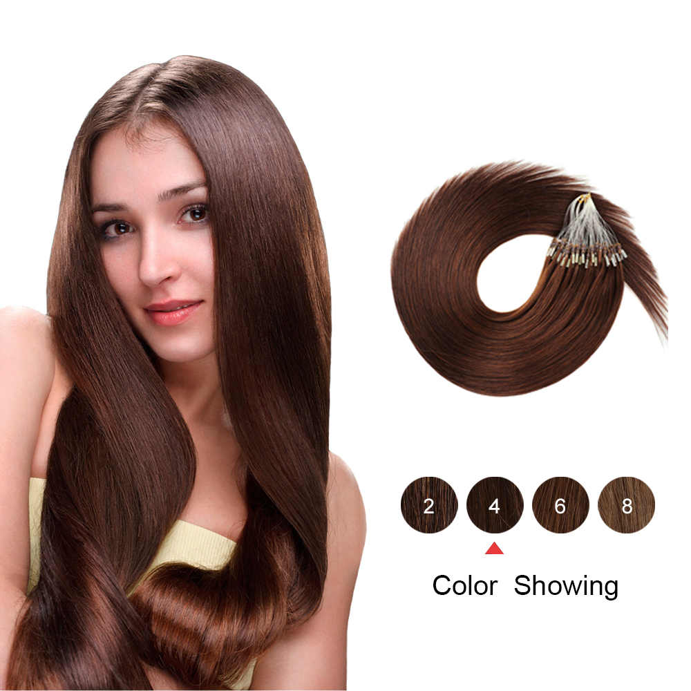"Gazfairy 16"" 18'' 20"" 22"" 24'' 50-100g Straight Loop Micro Ring Hair Pure Color Human Micro Bead Links Real Remy Hair Extensions"