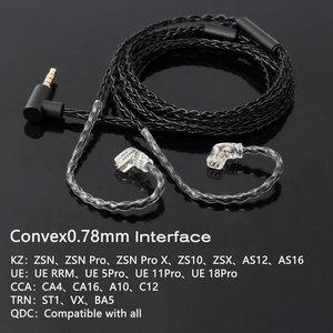 Image 4 - JCALLY 5N טהור כסף מצופה אוזניות שדרוג כבל עם מיקרופון 3.5mm MMCX/QDC/0.78/0.75mm 2Pin עבור KZ TFZ T2 CCA EDX AS16