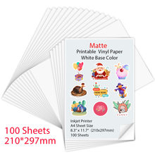 100 feuilles A4 Mat auto-adhésif Imprimable Vinyle Autocollant Papier pour imprimante À Jet D'encre BRICOLAGE Artisanat Papier de Copie Papier D'imprimante À Jet D'encre