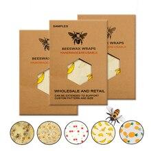Экологичная многоразовая пищевая обертка s Пищевая свежесть хранение органический пчелиный воск ткань обертка на заказ узор