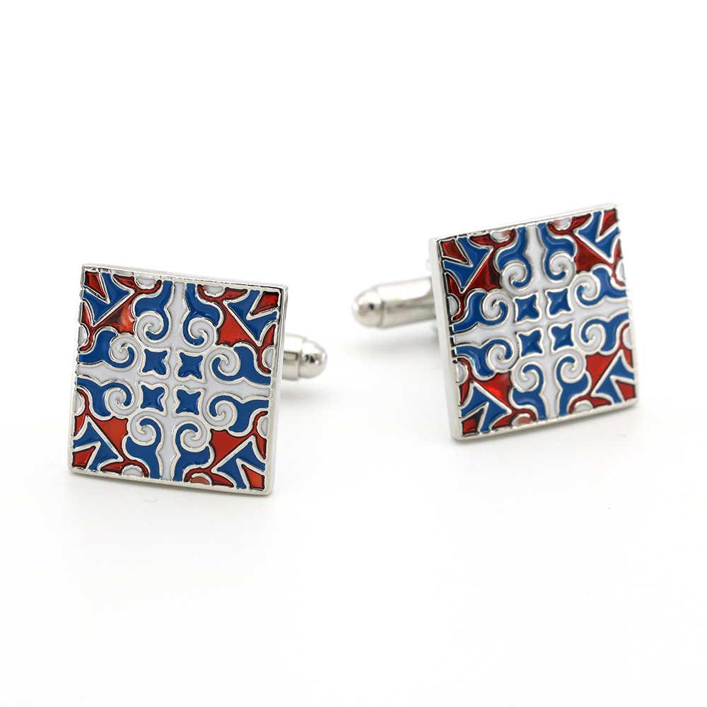 Королевская Цветочная Выгравированная манжета звенья для мужчин винтажный дизайн качественный латунный материал синие цветные запонки оптом и в розницу