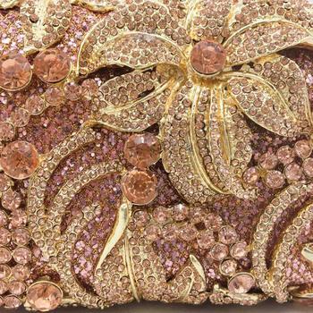 Champagne Crystal Flower Clutch  2