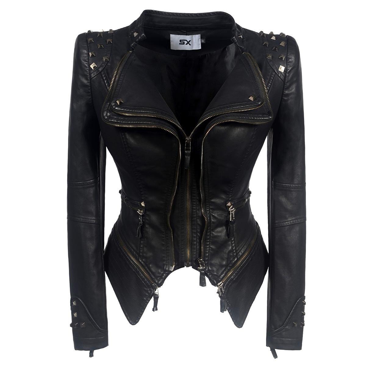 Autumn Women's Leather Jacket Casual High Quality Loose Moto $ Biker Streetwear Slim Pockets Turndown Collar Zip Female Pu Coat