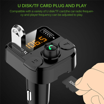 Car Kit Handsfree Bluetooth Car Kit FM Transmitter Radio MP3 Player USB Charger LCD Car Accessories 2020 New car mp3 player bluetooth fm transmitter handsfree car kit audio radio voltage monitor tf u disk 2 usb charger audio car music