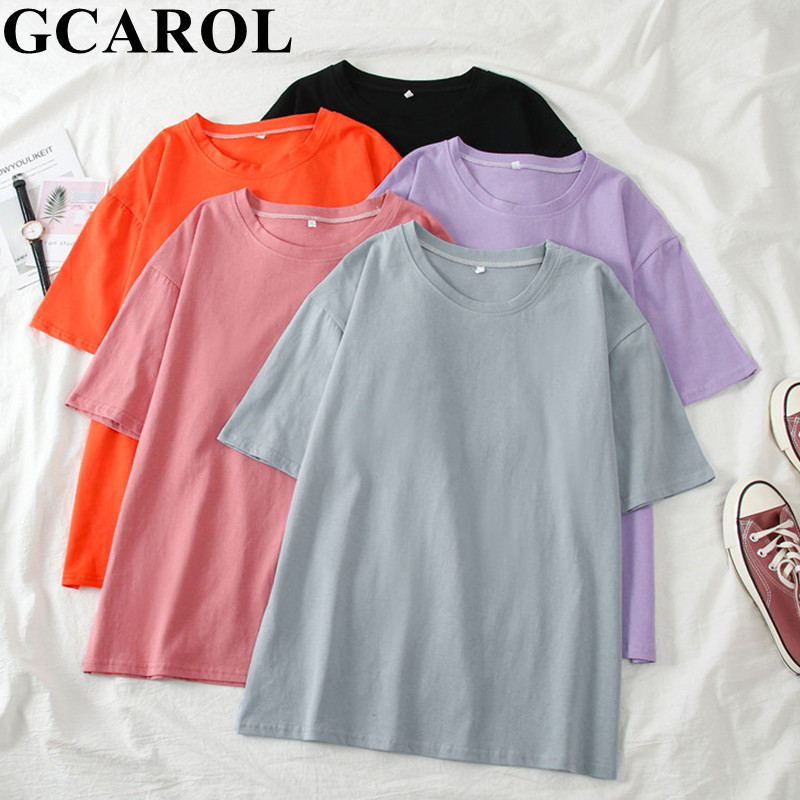 GCAROL 2020 Spring Summer Women Candy T-shirt Oversize Boyfriend Style Tops Perfect Basic Tees Render Unlined Upper Garment(China)