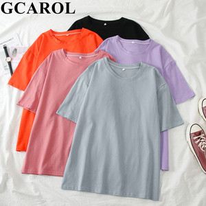GCAROL 2020 Spring Summer Women Candy T-shirt Oversize Boyfriend Style Tops Perfect Basic Tees Render Unlined Upper Garment(China)