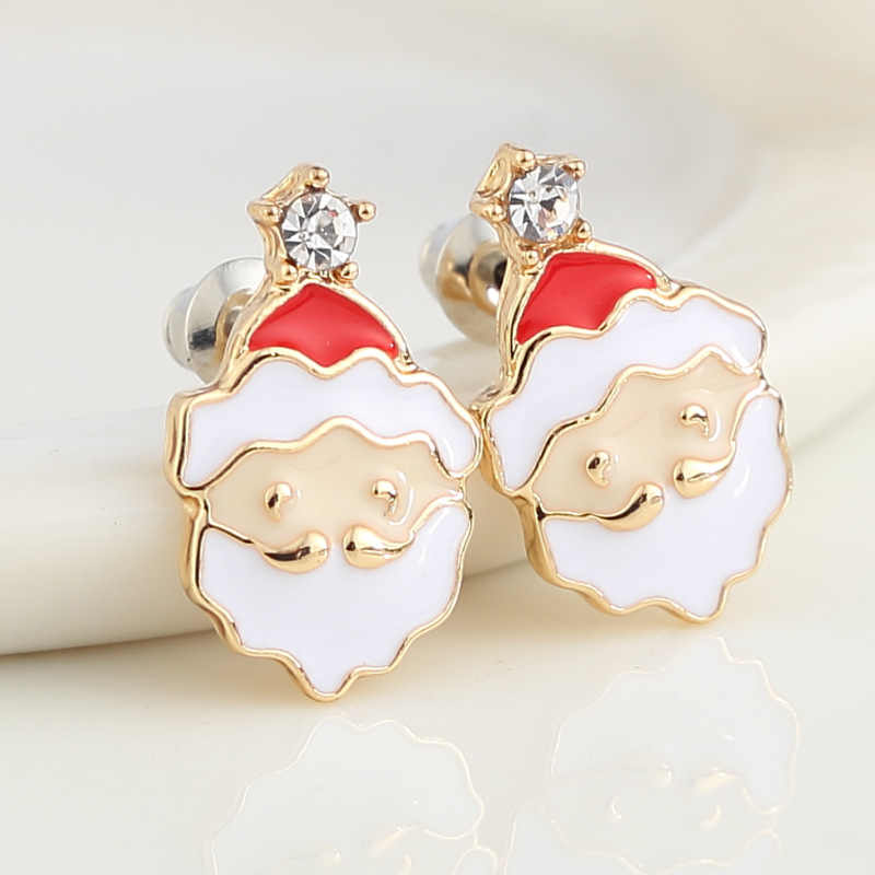 EDS Christmas Earrings Ear Cuffs Santa Claus Clip On Earrings Clip Earrings Without Piercing Earcuff Women Fashion Jewelry