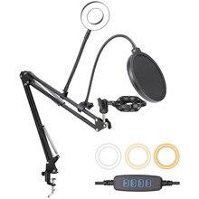 Support de Microphone pour BM800 K669, support de Microphone, filtre Pop, support de choc avec condensateur lumineux annulaire, flèche de Suspension de Microphone, bras de ciseaux