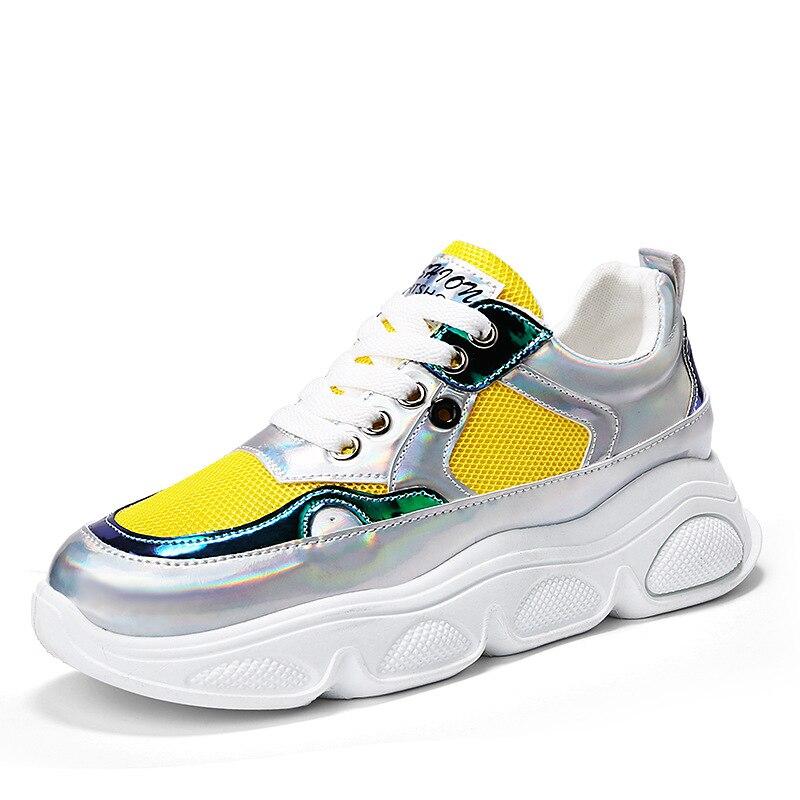 Женские желтые кроссовки на высокой платформе; повседневная обувь; удобные цветные кроссовки; женские кроссовки; chaussures femme JN 02