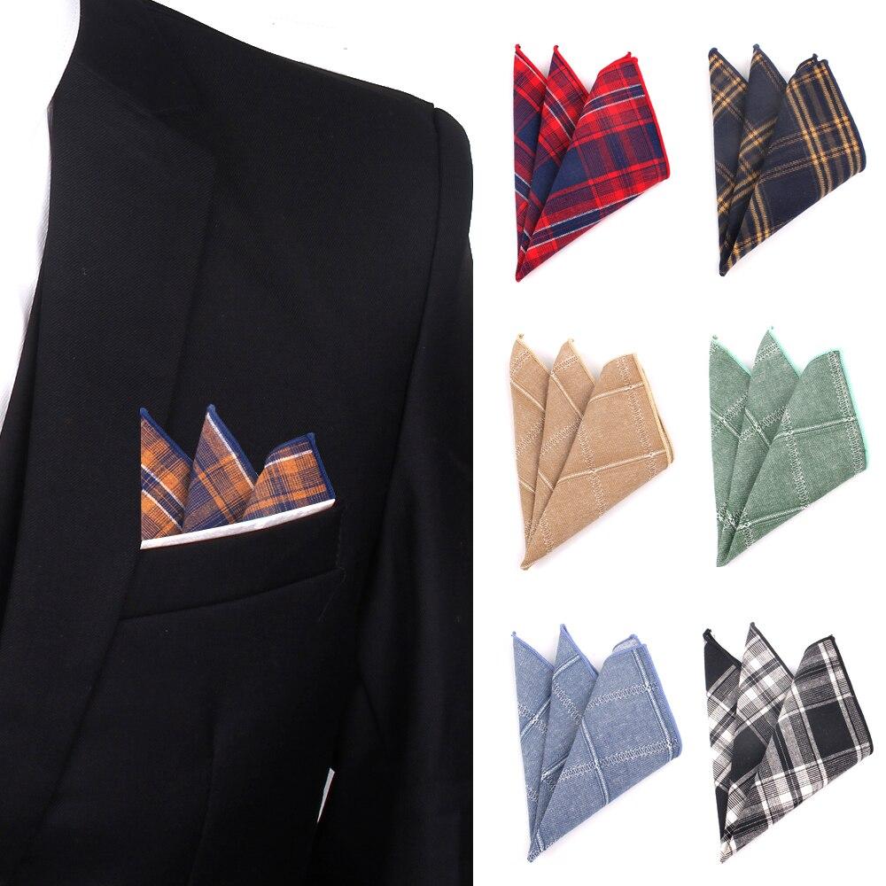 Plaid Pocket Square For Men Casual Cotton Hanky Mens Handkerchiefs Suits Classic Square Handkerchief Towels For Party Scarves