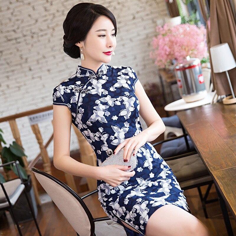 Sheng Coco Navy Blue Lace Short Qipao Women Daily Dress Cheongsam Butterfly Print Mini Dress Chinese Traditional Clothing